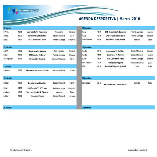 Agenda desportiva Março